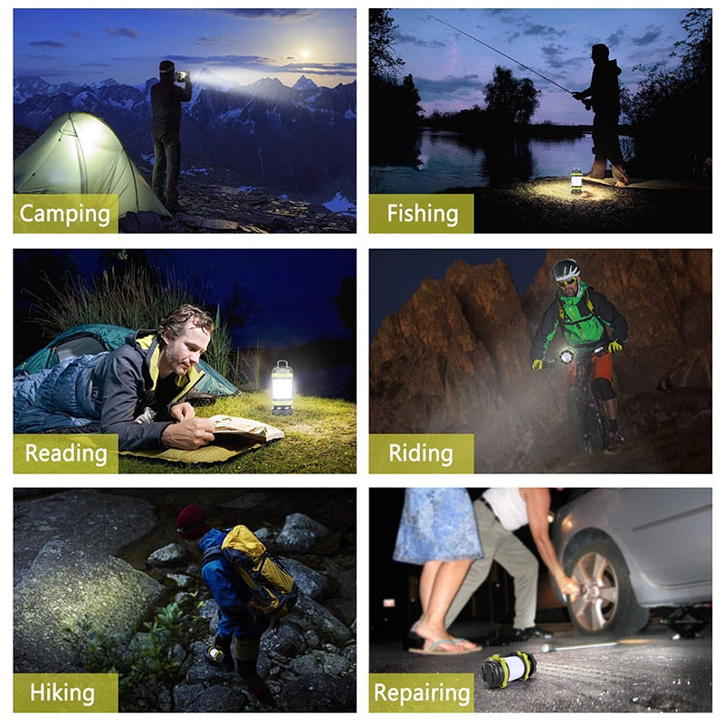 ZK20 Portable LED Camping Light Working Light Outdoor Tent Light   Handheld Flashlight USB Rechargeable Waterproof Search Light
