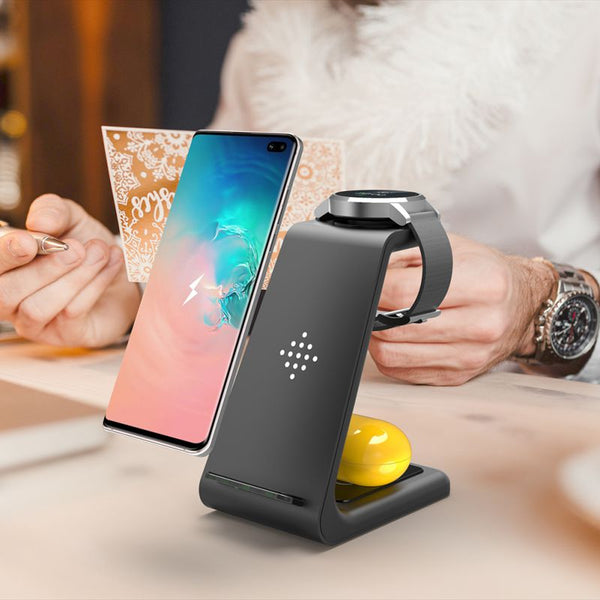 3 in 1 Wireless Fast Charging Stand for iPhone & Samsung