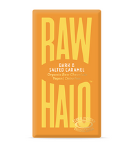 Load image into Gallery viewer, Raw Halo Dark & Salted Caramel Vegan chocolate - 70g