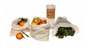 Organic Reusable Produce Bags & Bread Bag - 3 Pack