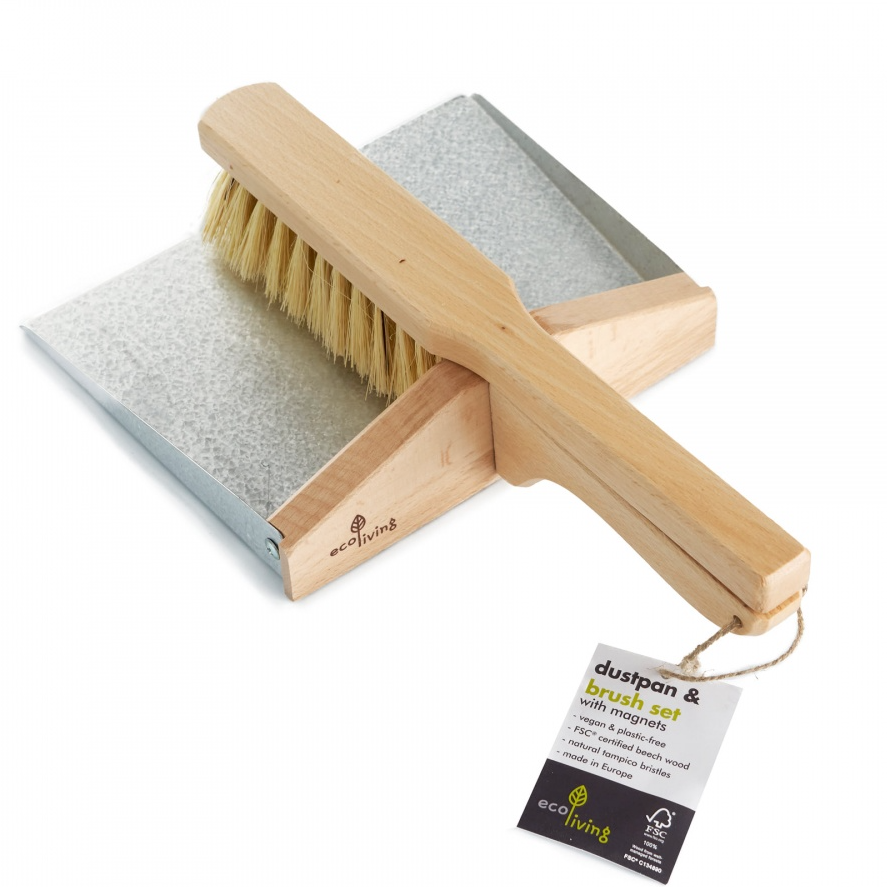 Dustpan and Brush Set - with Magnets (100% FSC Certified) - Eco Living
