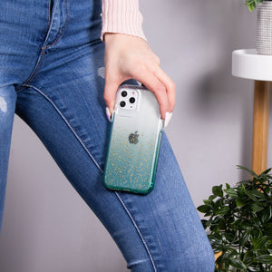 iPhone 11 Pro Max - Clear Sparkle Glitter Case - Green