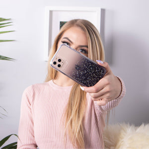 iPhone 11 - Clear Sparkle Glitter Case - Black