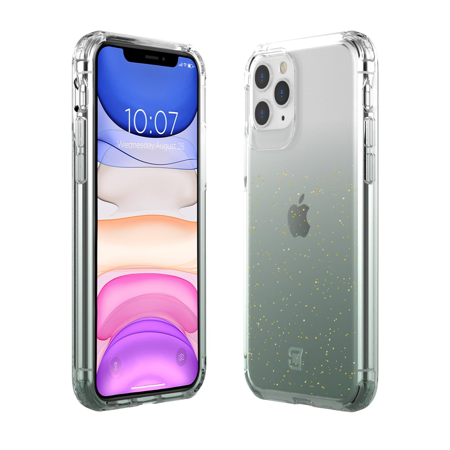 iPhone 11 Pro - Clear Glitter Case - Green