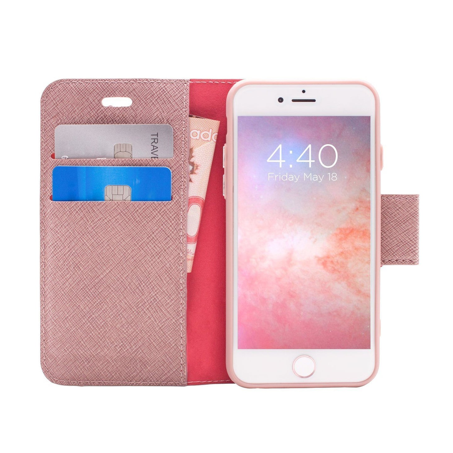 iPhone 8 / 7 - Broadway Magnetic Folio Wallet - Rose Gold