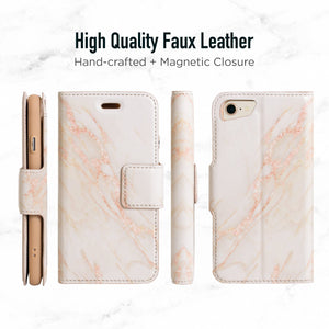 iPhone 7 & 8 Magnetic Marble Wallet Folio Case - Gold