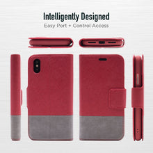Load image into Gallery viewer, iPhone XR - Broadway Magnetic Folio Wallet - Red