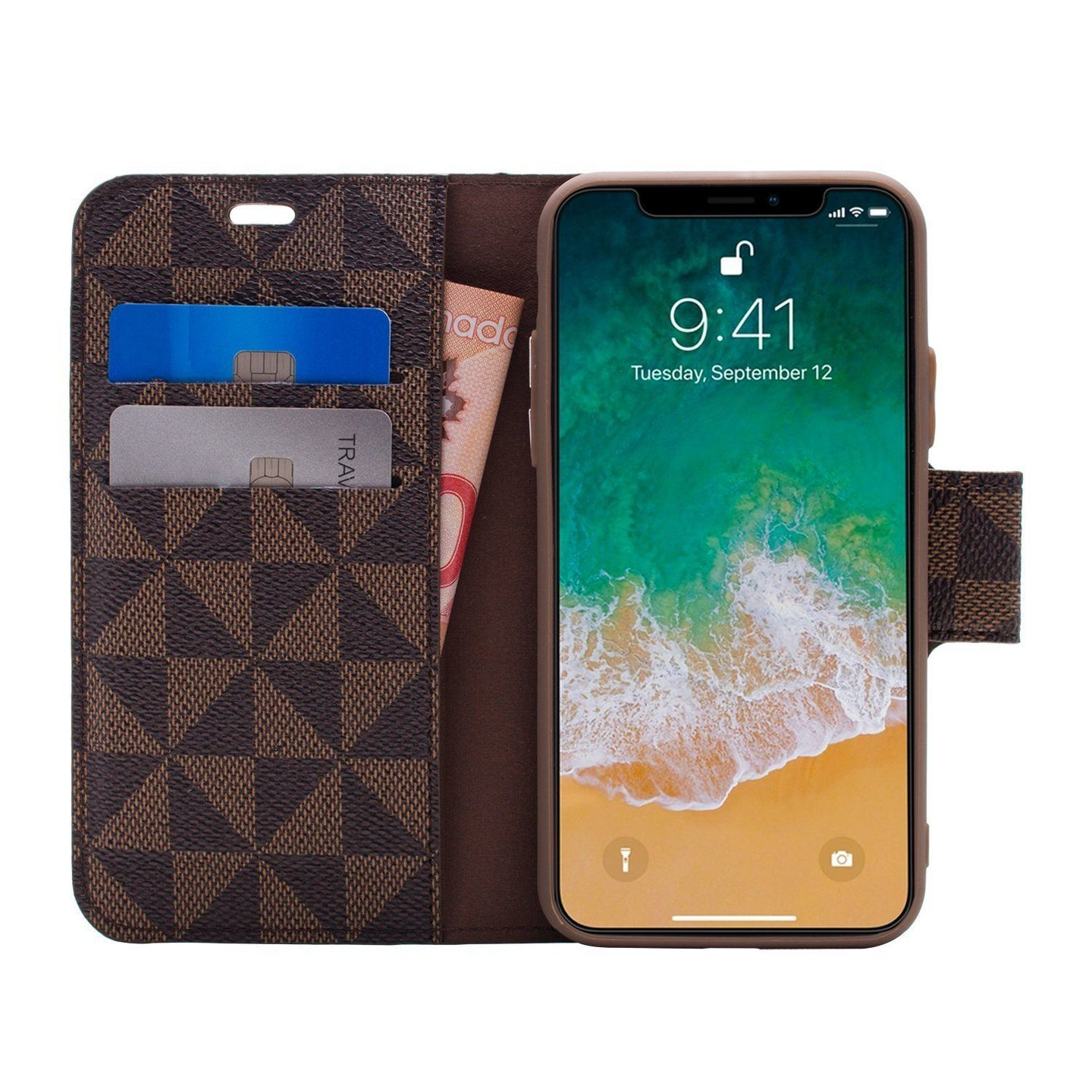 iPhone XS Max - Park Ave Magnetic Folio Wallet Case - Brown