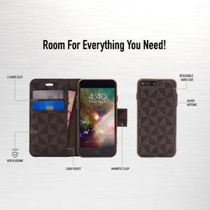 iPhone 8 / 7 - Park Ave Magnetic Folio Wallet Case - Brown