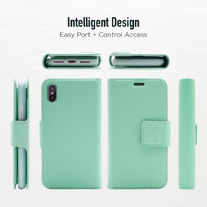 iPhone X / XS - Sunset Blvd Folio Wallet Case - Turquoise