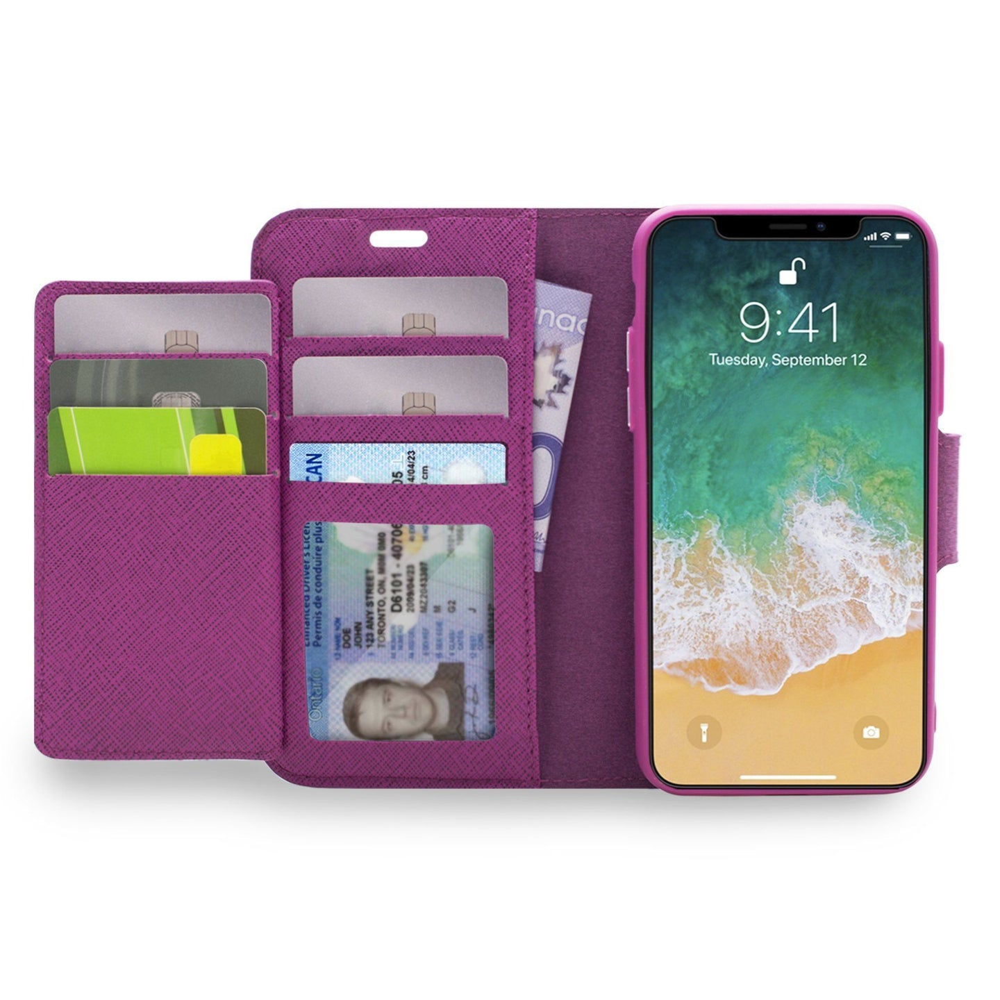 iPhone XS Max - Sunset Blvd Magnetic Wallet Folio Case Purple