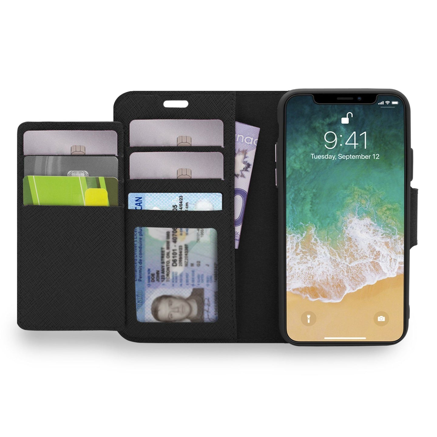 iPhone XS Max - Sunset Blvd Magnetic Wallet Folio Case Black