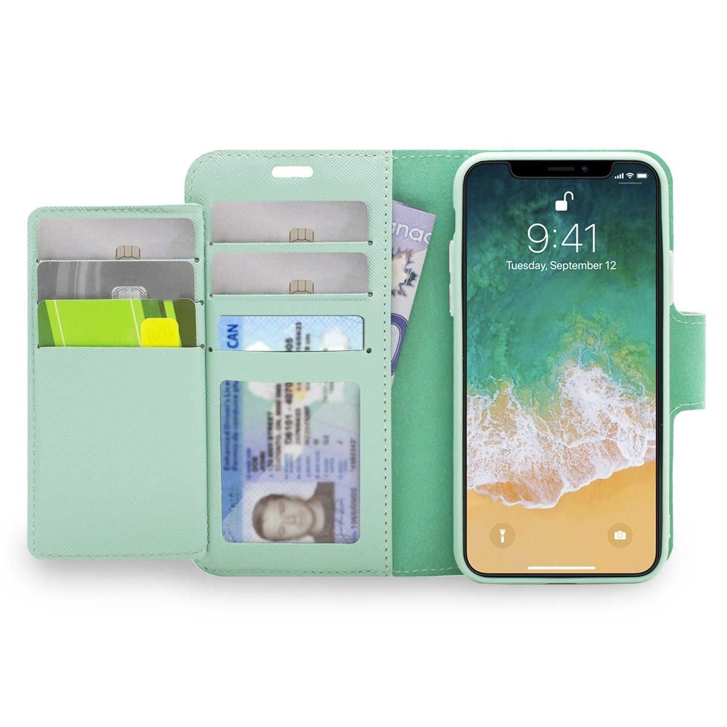 iPhone XR - Sunset Blvd Magnetic Wallet Folio Case - Turquoise