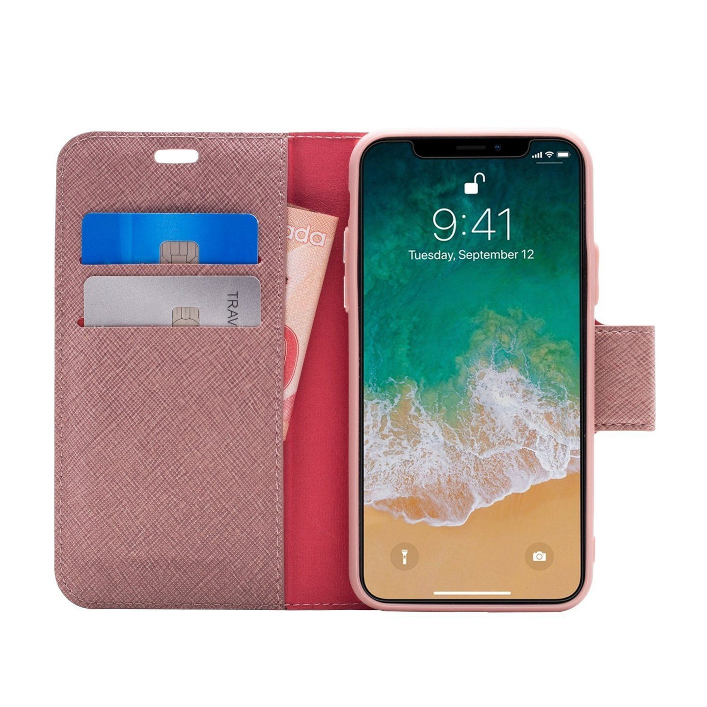 iPhone XS Max - Broadway Magnetic Folio Wallet - Rose Gold