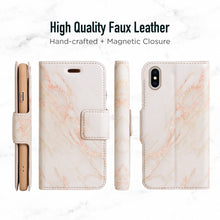 Load image into Gallery viewer, iPhone X & XS Magnetic Marble Wallet Folio Case - Gold
