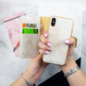 iPhone X & XS Magnetic Marble Wallet Folio Case - Gold