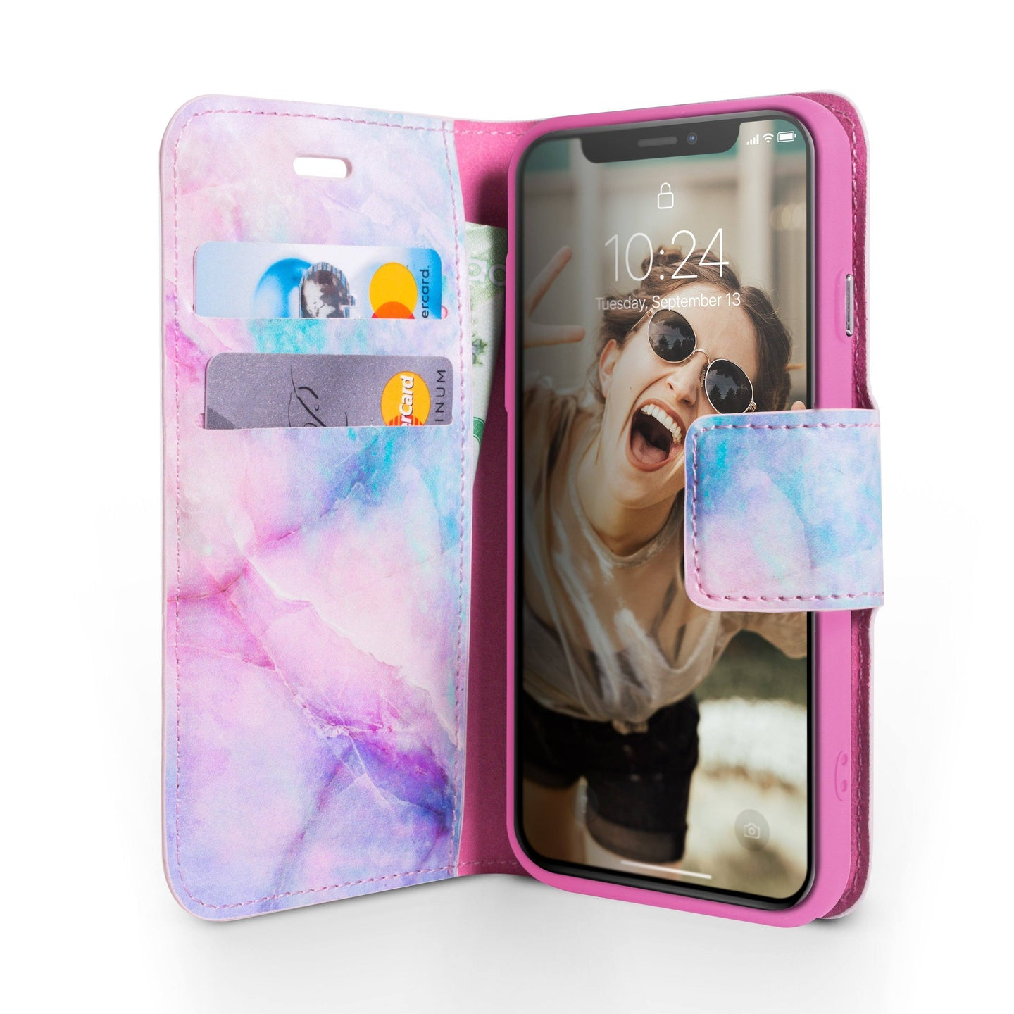 iPhone X & XS Magnetic Marble Wallet Folio Case - Pink Unicorn