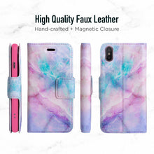 Load image into Gallery viewer, iPhone X & XS Magnetic Marble Wallet Folio Case - Pink Unicorn