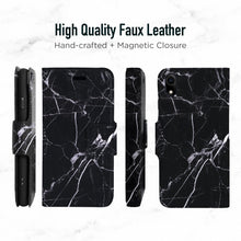 Load image into Gallery viewer, iPhone XR Magnetic Marble Wallet Folio Case - Black & white