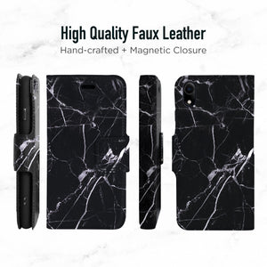 iPhone XR Magnetic Marble Wallet Folio Case - Black & white