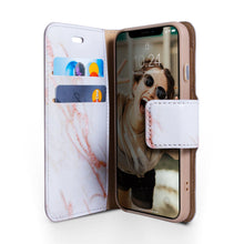 Load image into Gallery viewer, iPhone XR Magnetic Marble Wallet Folio Case - Gold