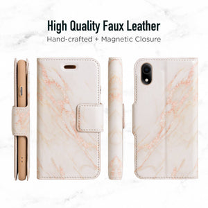 iPhone XR Magnetic Marble Wallet Folio Case - Gold