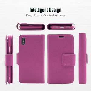iPhone XR - Sunset Blvd Magnetic Wallet Folio Case - Purple