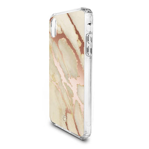 iPhone XS / X - Holographic Marble Tough Case - Rose Gold
