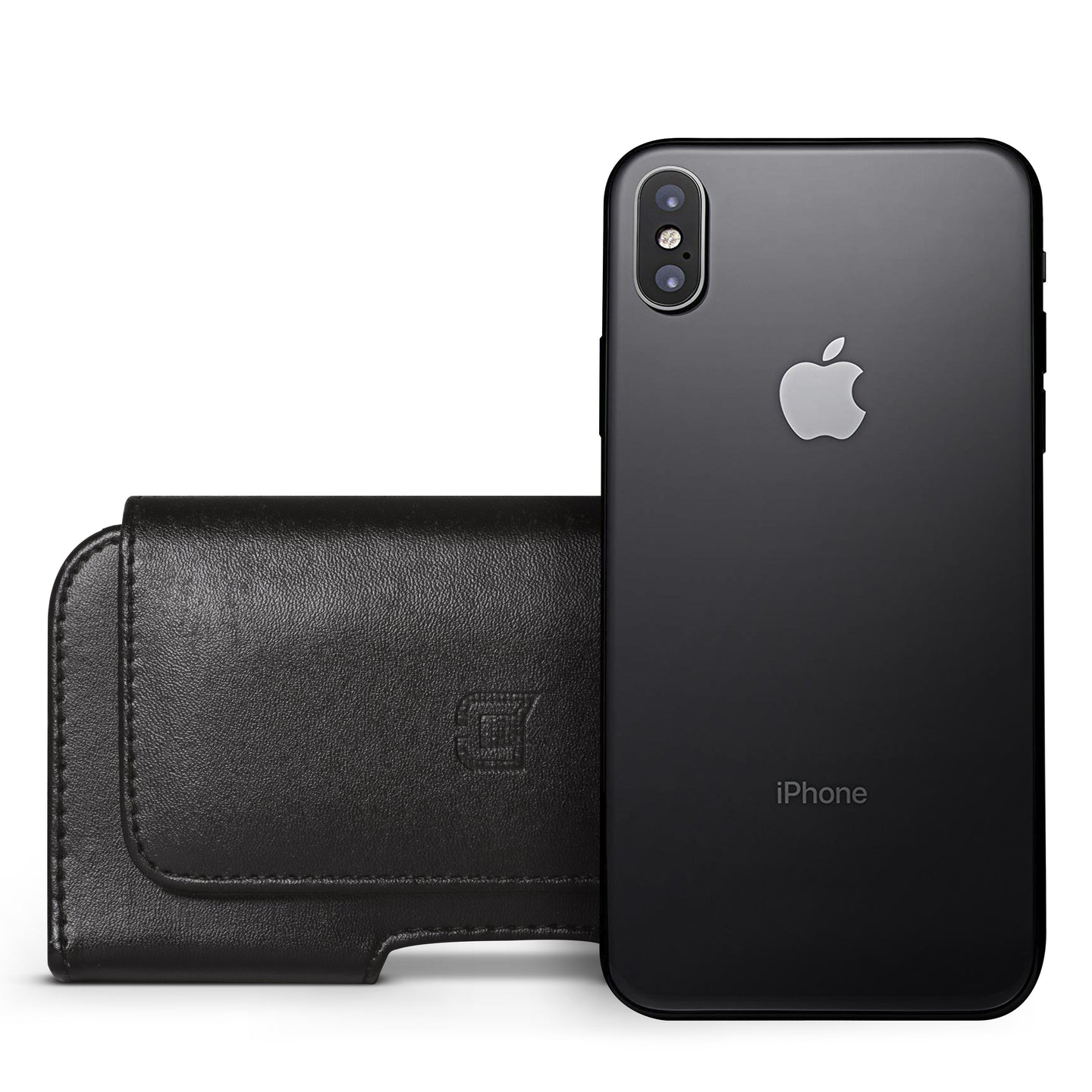 Horizontal iPhone XS Faux Vegan leather belt clip holster pouch