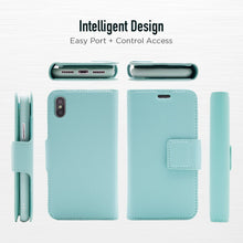 Load image into Gallery viewer, iPhone XS Max - Sunset Blvd Magnetic Wallet Folio Case- Sky Blue