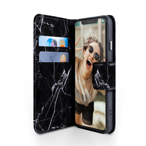iPhone X & XS Magnetic Marble Wallet Folio Case - Black and white