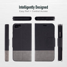 Load image into Gallery viewer, iPhone SE - Broadway Magnetic Wallet Folio Case - Black