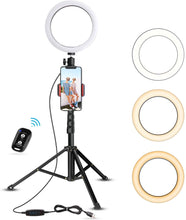 "Load image into Gallery viewer, 8"" Selfie Ring Light with Tripod Stand & Cell Phone Holder for Live Stream/Makeup"