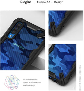 Ringke Fusion X Design DDP Compatible with Galaxy A50 Case Camo/Black