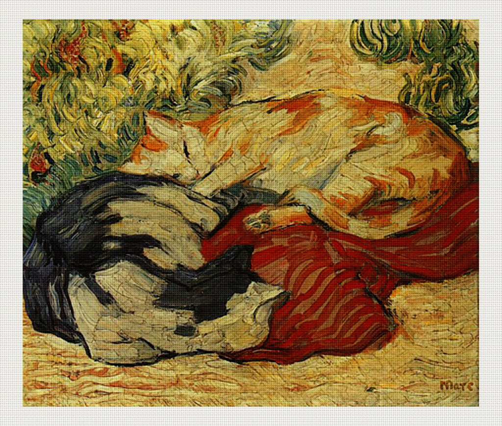 Cats on a Red Cloth, Franz Marc