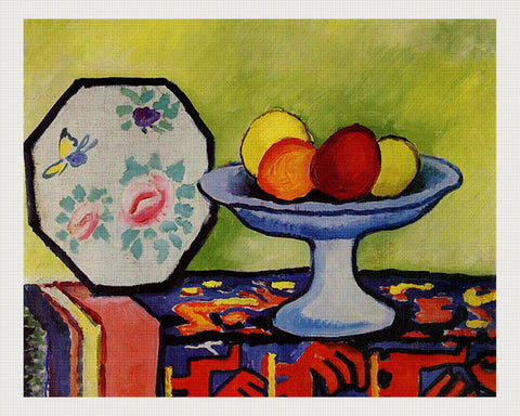 Still Life With Bowl of Apples and Japanese Fan, August Macke