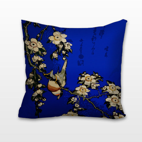 Bullfinch & Weeping Cherry, Needlepoint Cushion, Pillow
