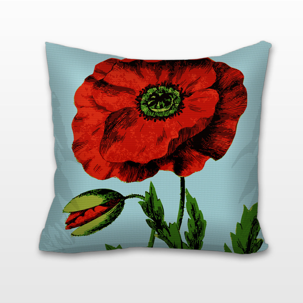 English Poppy, Needlepoint Cushion, Pillow