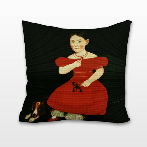 Girl in a Red Dress, Cushion, Pillow
