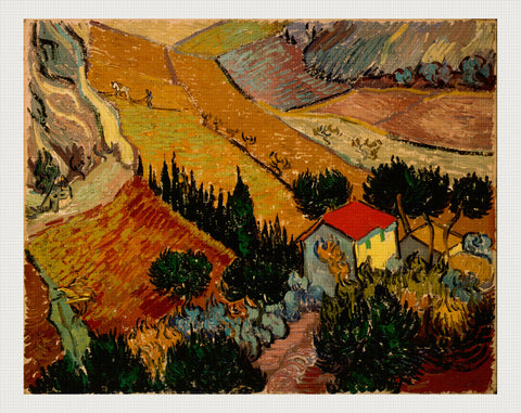 Landscape with House and Ploughman, Vincent van Gogh