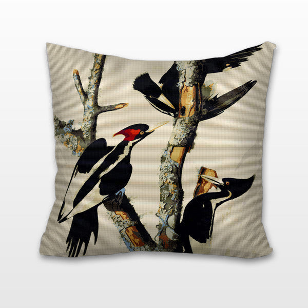 Ivory Billed Woodpeckers, Needlepoint Cushion, Pillow