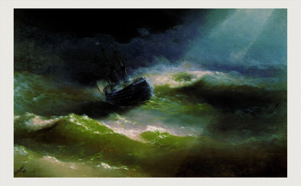 Ship Empress Maria in storm, Ivan Aivazovsky