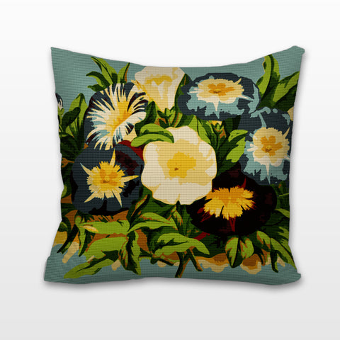 Vintage Morning Glory, Needlepoint Cushion, Pillow
