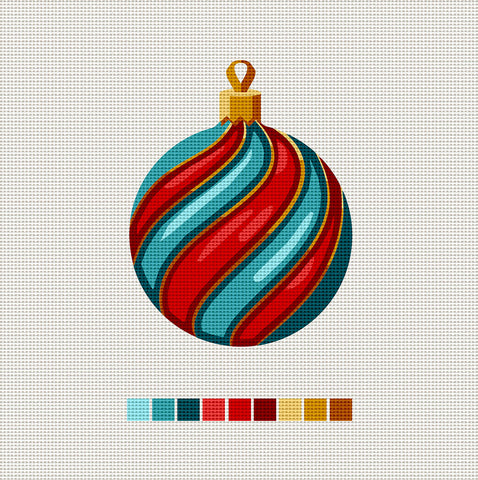 Aqua & Red Ball, Needlepoint Christmas Ornament