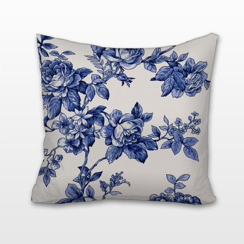 Blue and White Roses - Toile, Cushion, Pillow