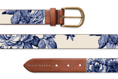 Blue and White Rose Toile, Needlepoint Belt