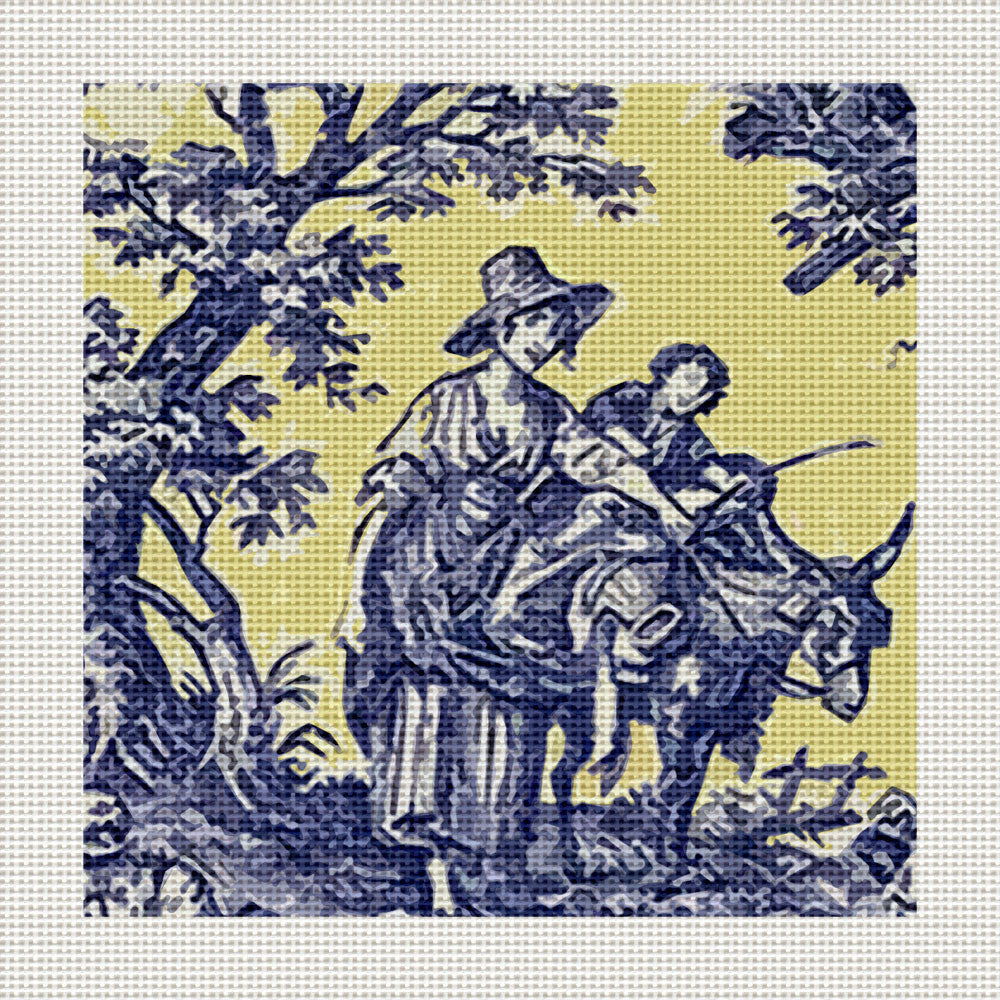 "Blue & Yellow Toile, 5 x 5"" Miniature"