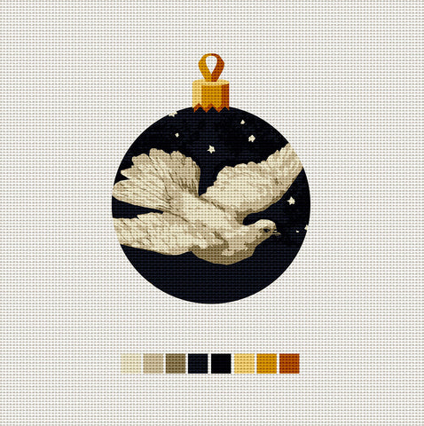 Dove, Needlepoint Christmas Ornament