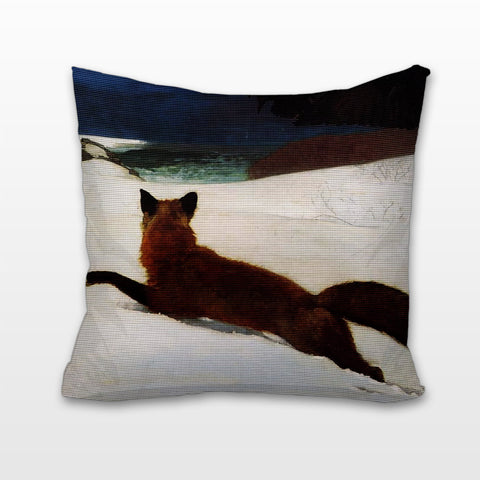 Fox in Snow, Cushion, Pillow