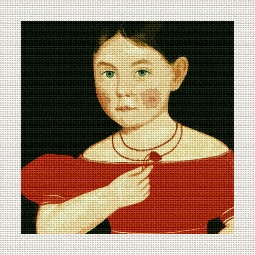 "Girl in a Red Dress, 5 x 5"" Miniature"